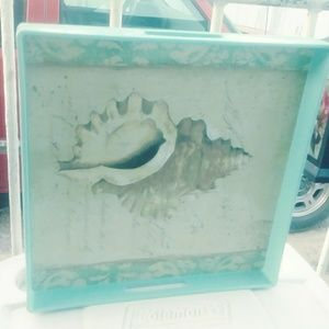 """Other - Blue square serving tray  """"Coastal Shell Beach"""""""